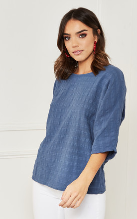 Cotton Oversized Textured Top In Blue by Bella and Blue Product photo