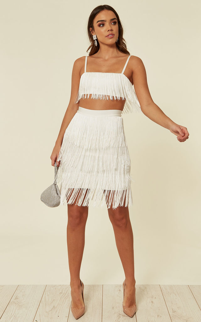 MEGHAN White CO-ORD top and skirt with tassels by My Bandage Dress
