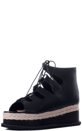 BELLOW Lace Up Platform Sandals in Black Faux Leather by SpyLoveBuy