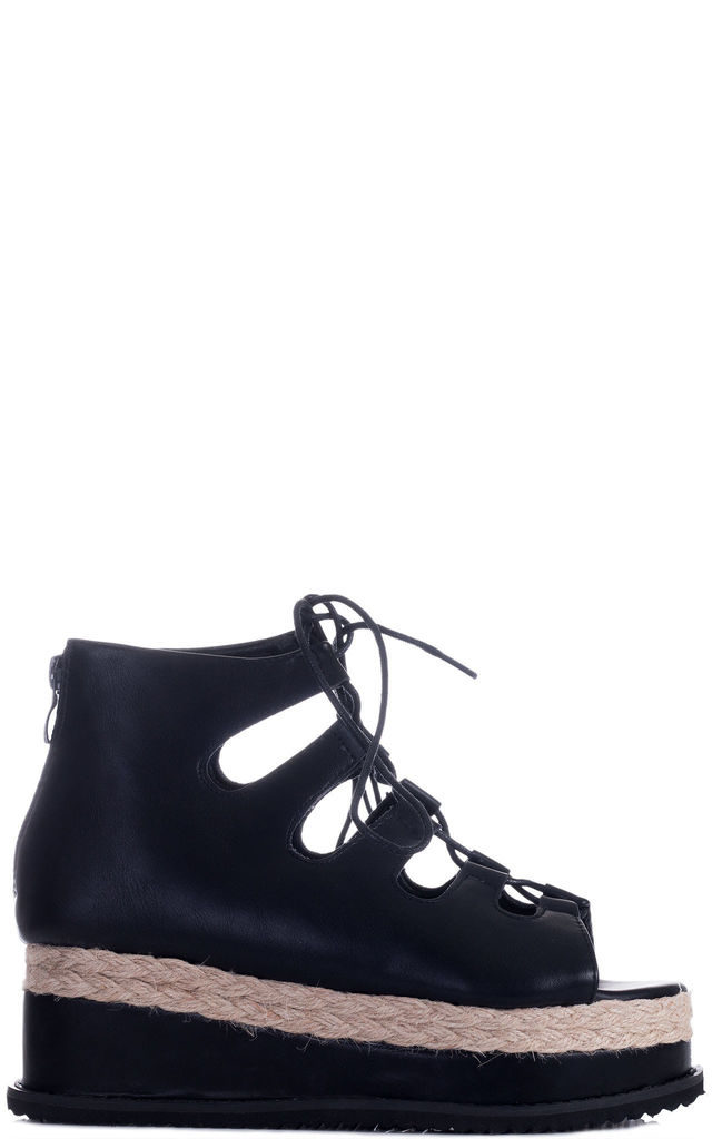 5f2f0aa477d BELLOW Lace Up Platform Sandals Shoes - Black Leather Style by SpyLoveBuy