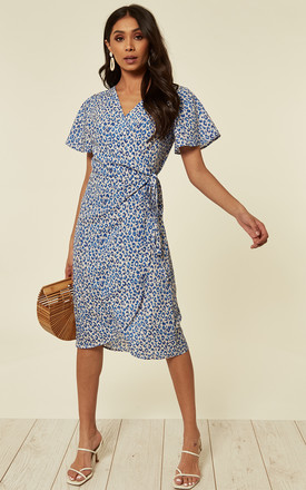 Slim Fit Navy And White Leopard Print Midi Wrap Dress With Cap Sleeve by D.Anna Product photo
