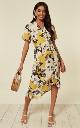 Yellow Floral Midi Wrap Dress With Cap Sleeve An Frill Hem by D.Anna Product photo