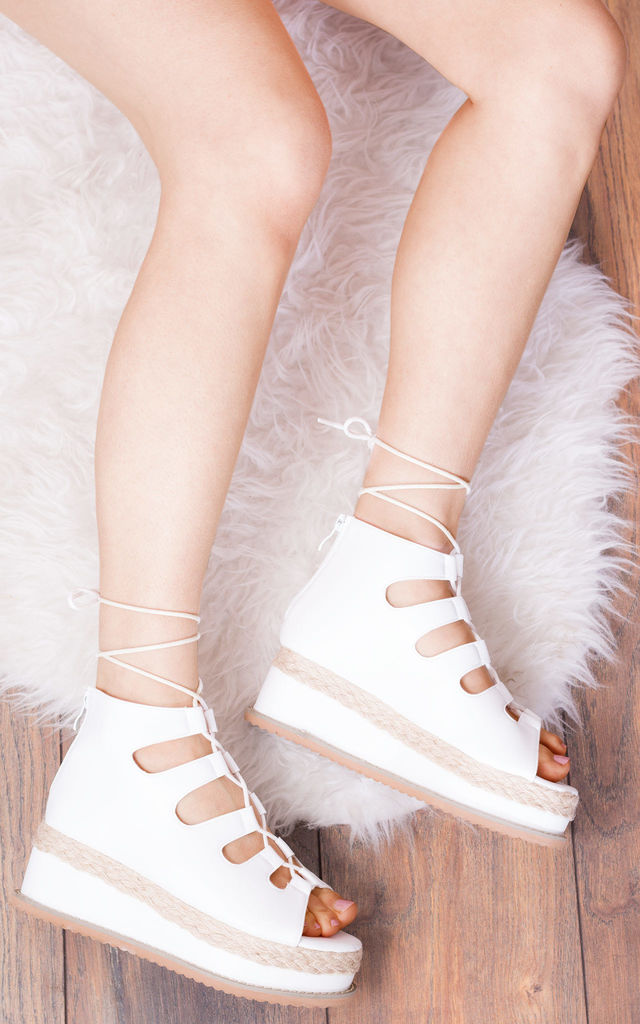 BELLOW Lace Up Platform Sandals in White Faux Leather by SpyLoveBuy