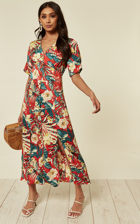 Slim Fit Red Floral Print & Button Through Maxi Dress by D.Anna Product photo