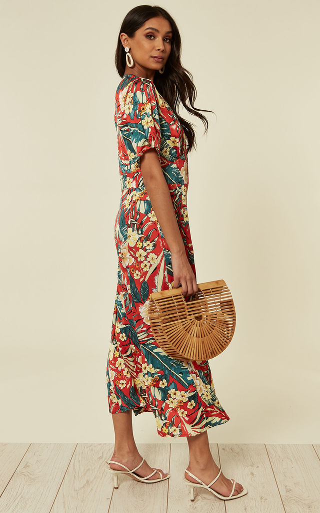 Slim-fit Red Floral Print & Button Through Maxi Dress by D.Anna