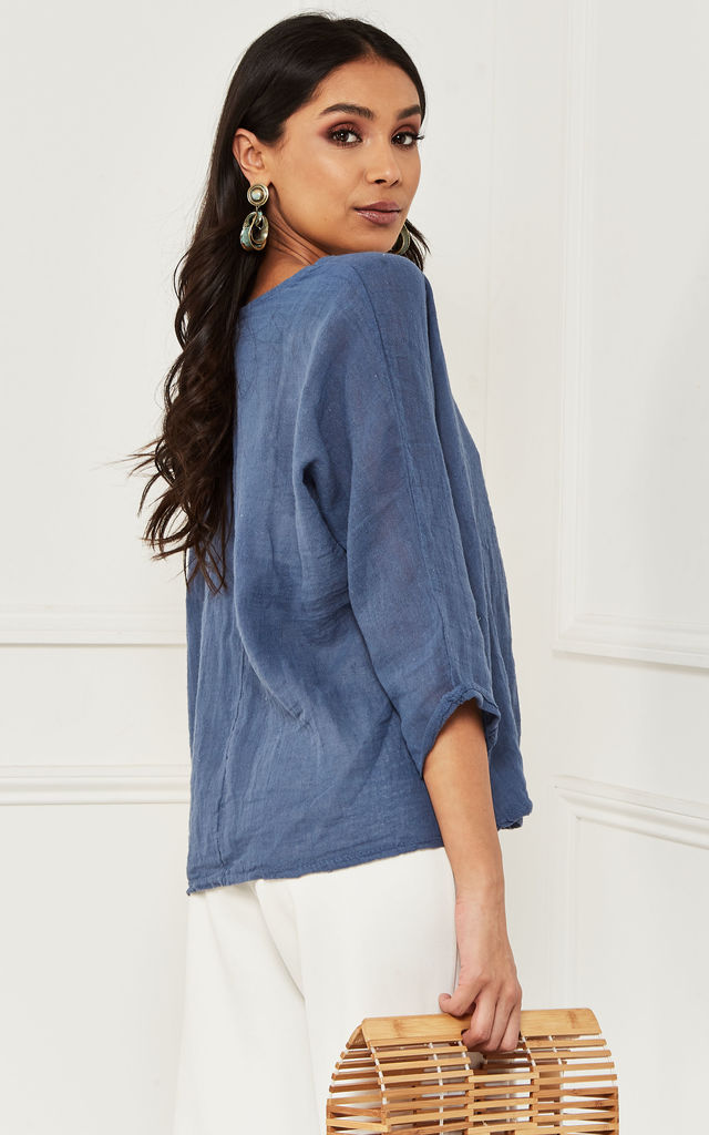 Blue Linen Mix 3/4 Sleeve Top by Bella and Blue