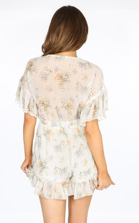 White Ditsy Floral Chiffon Playsuit by Dressed In Lucy
