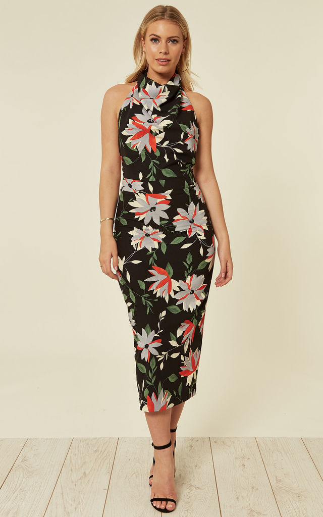 High Neck Backless Midi Dress - Midnight Tropics by House Of Lily