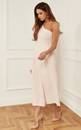 Blush One Shoulder Jumpsuit With Bow Detail by Luna Product photo