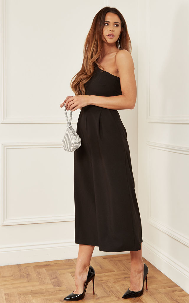Black One Shoulder Jumpsuit with Bow Detail by Luna