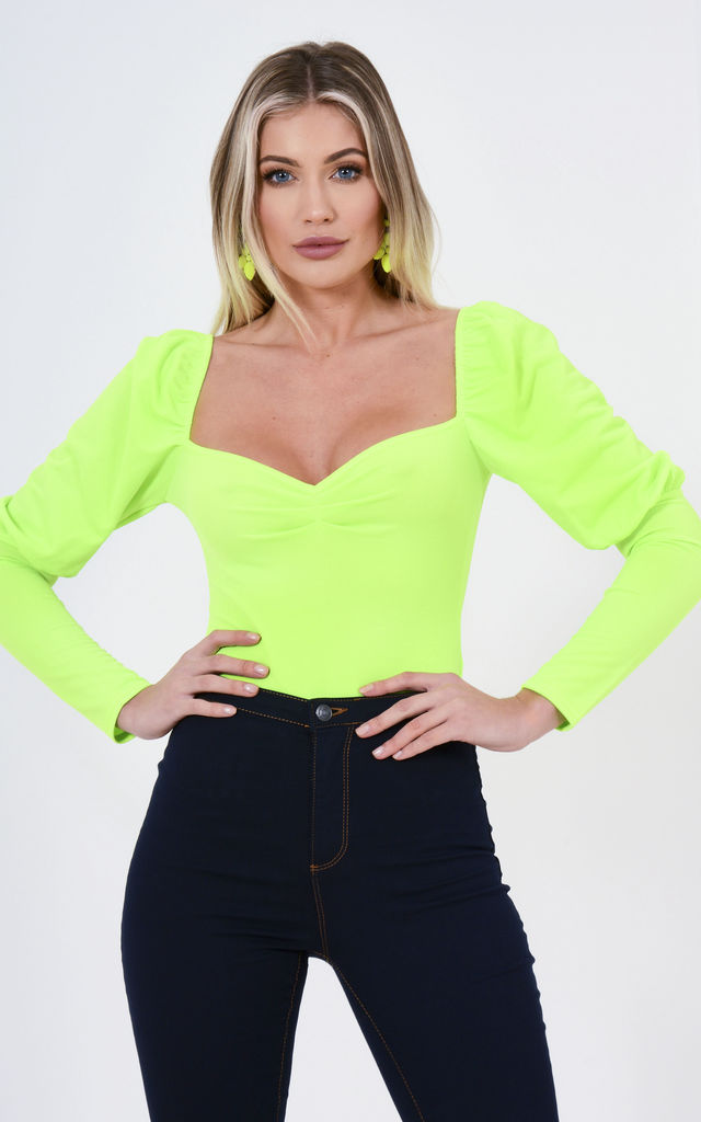 Lime Puff Sleeve Body Suit by Premier Glam