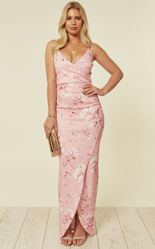 b2078a7e34 Wonder Baby Pink Floral Print Wrap Maxi Dress with split leg by Neykay  London