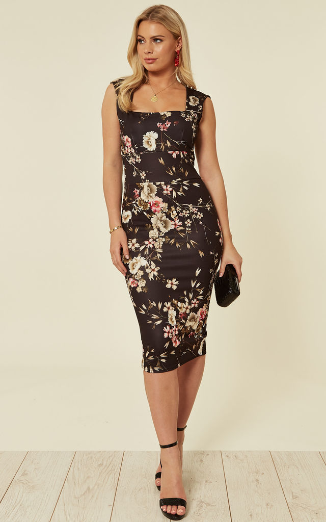 220cfba9e64 Kaitlin Black Floral Print Bodycon Midi Dress | Neykay London | SilkFred