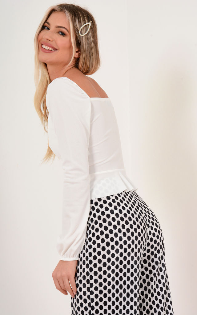 White Peplum Top by Premier Glam