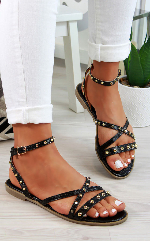 Black Studs Ankle Strap Sandals by Larena Fashion