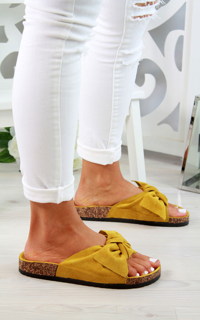 Yellow Bow Flatform Sliders by Larena Fashion