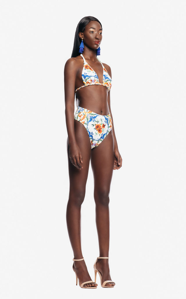 Floral Scuba Bikini in White by Rosie Billington