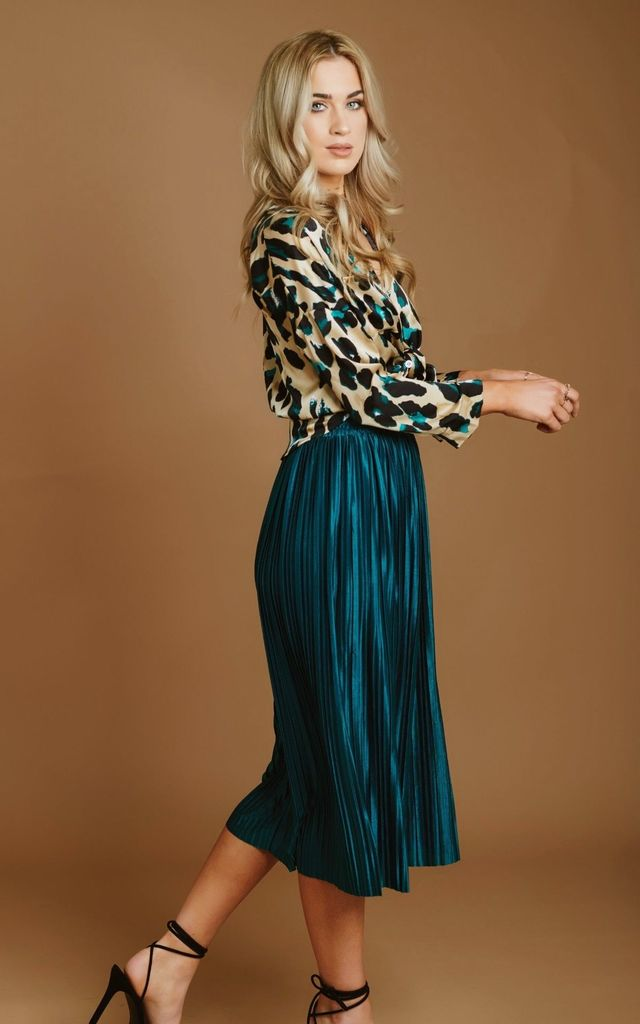 Metallic Green Pleated Skirt by HAUS OF DECK