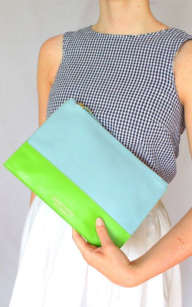 'GRACE' LIMITED EDITION Leather Clutch Bag in Duck Egg and Lime Green by Tamara Harvey