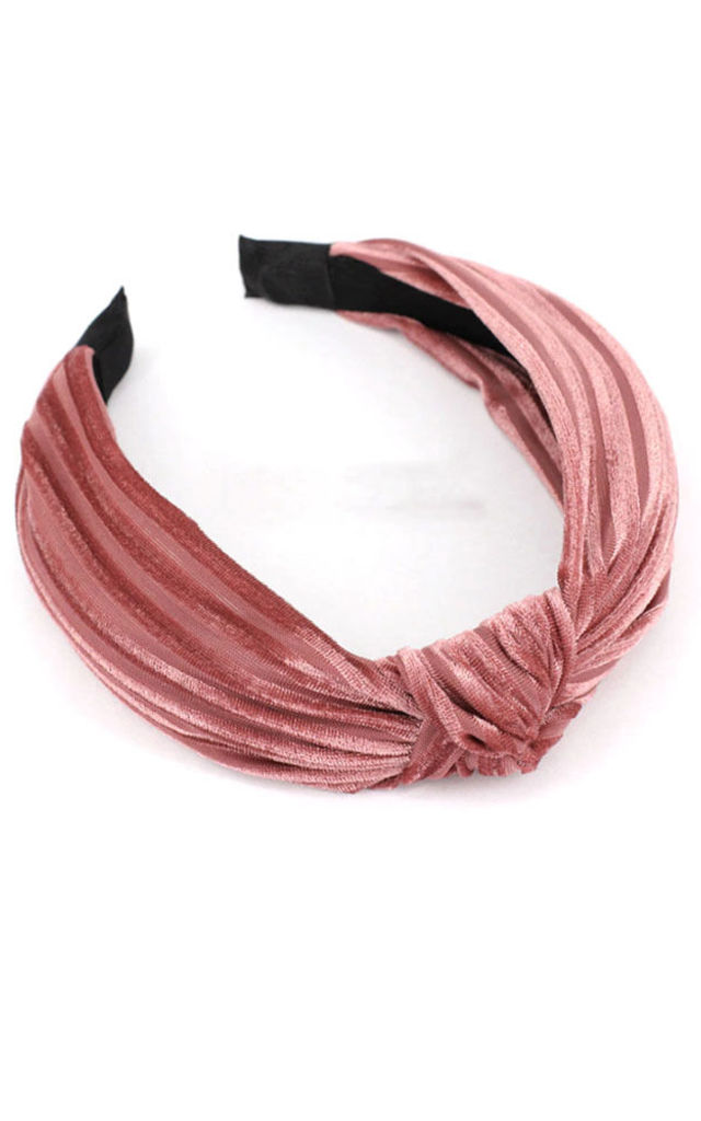 Amalia Rose Pink Velvet Knot Hairband Headband by Ajouter Store