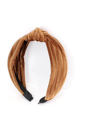 Marisa Burnt Orange Velvet Knot Detail Headband Hairband by Ajouter Store