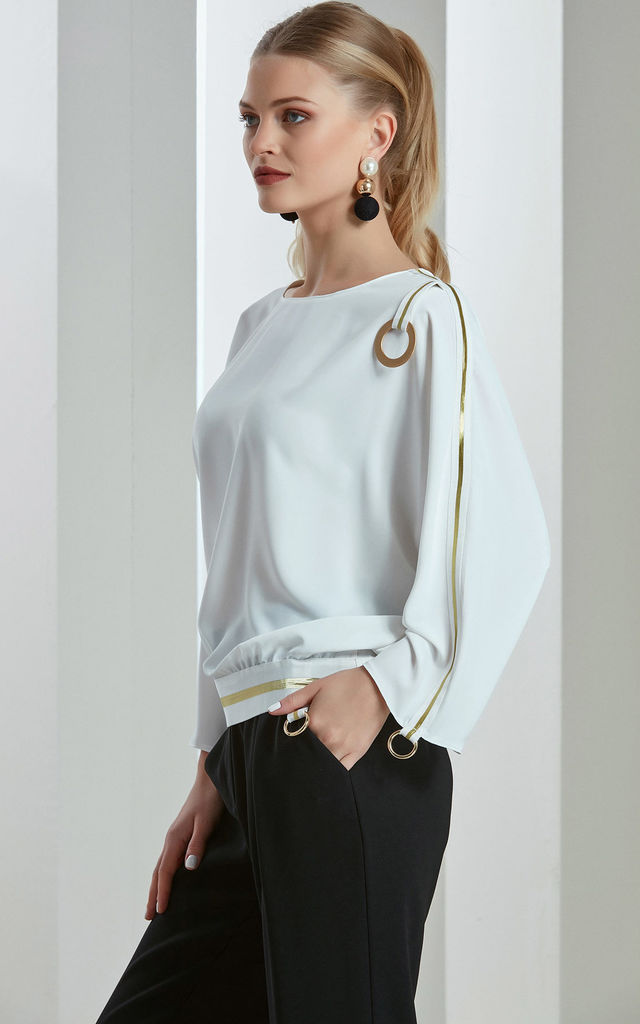 Ecru White Long Sleeves Spring/Summer Top by Love By Joy