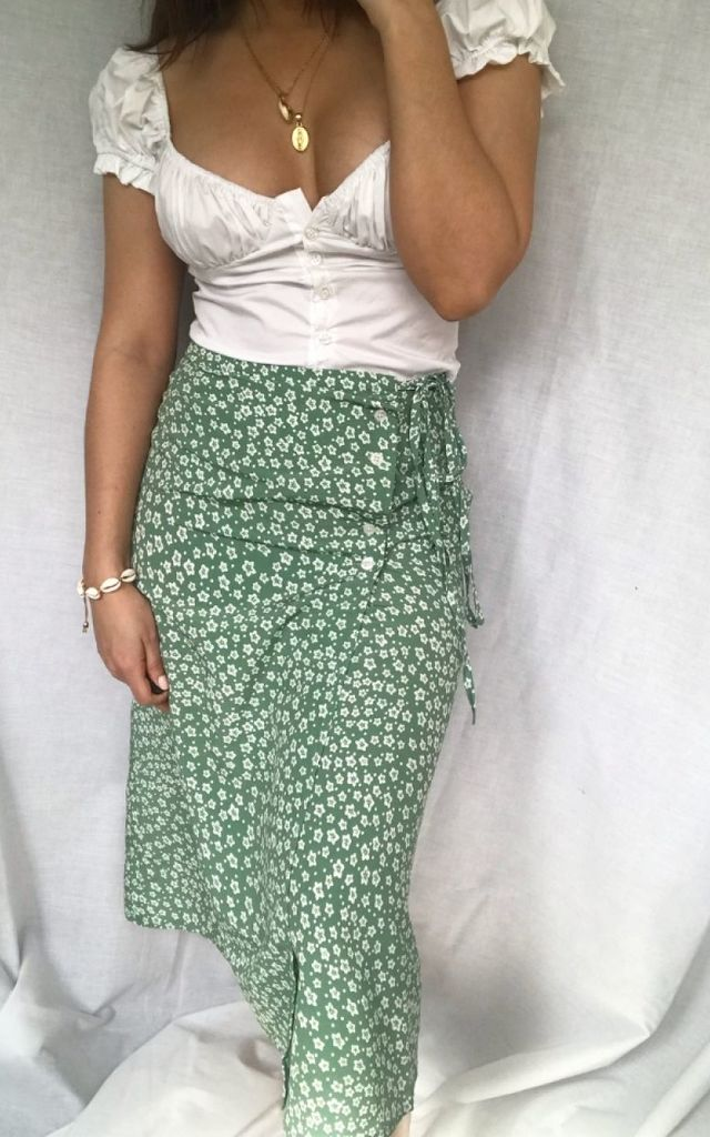 Ditsy Wrap Skirt Green by Silks and Stars