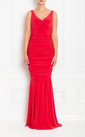 Gabby Red Maxi Dress With Fishtail by Honor Gold Product photo