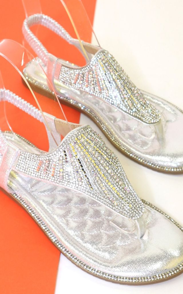 Silver diamante sandals by Bond Street Shoe Company