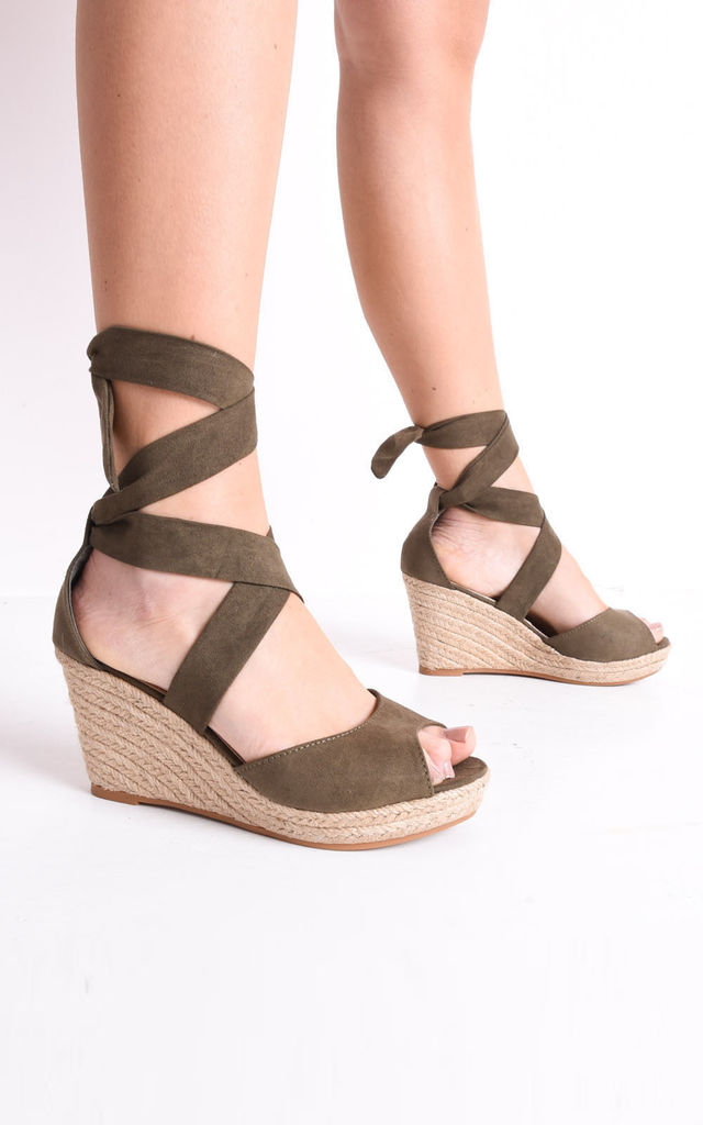 Lace up espadrille wedge sandals suede khaki green by LILY LULU FASHION