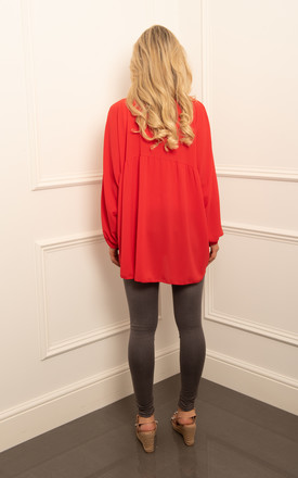 Pussy Bow Oversized Blouse in Red by DARE LABEL
