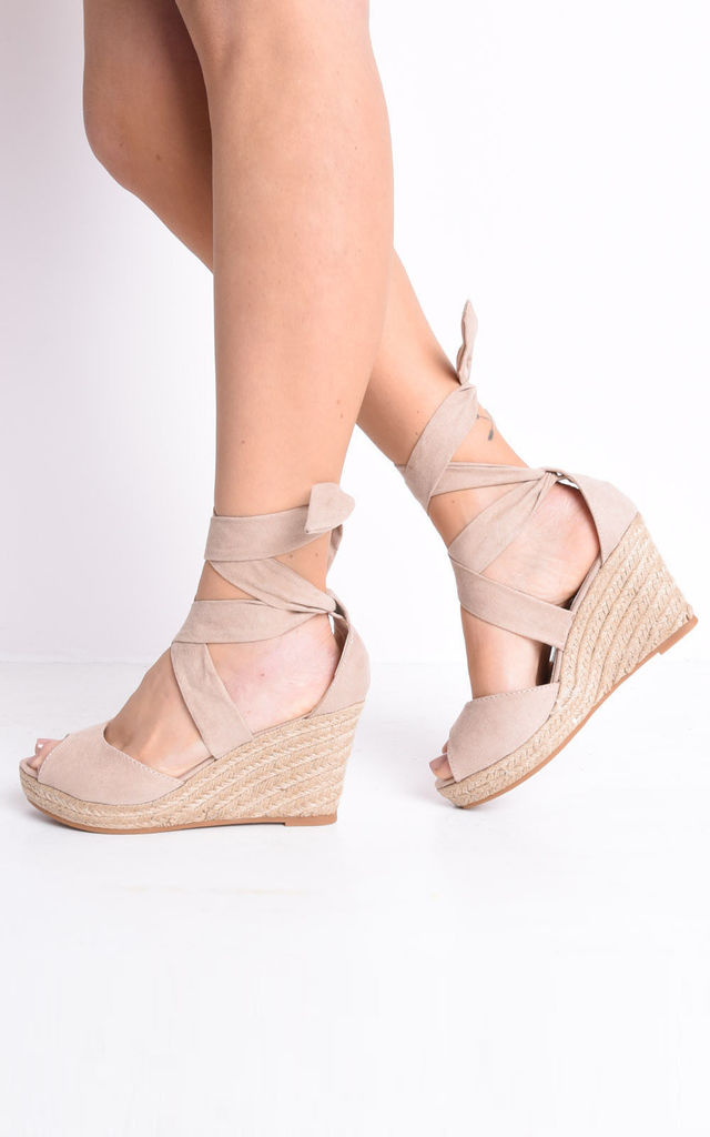 Lace up espadrille wedge sandals suede blush pink by LILY LULU FASHION