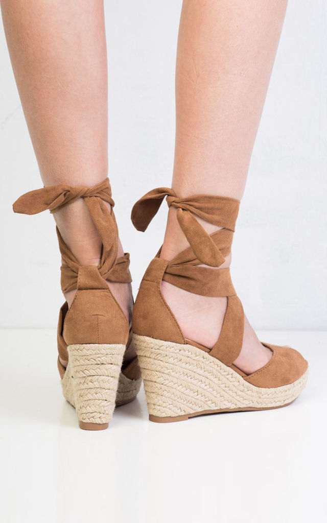 Lace up espadrille wedge sandals suede camel by LILY LULU FASHION