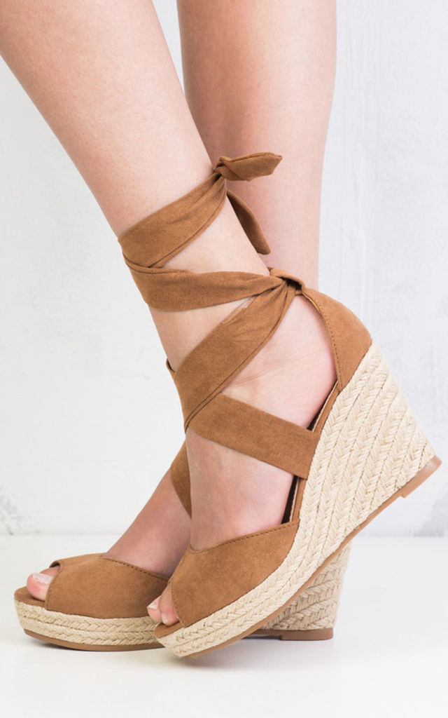 bd2bc32096f Lace up espadrille wedge sandals suede camel by LILY LULU FASHION