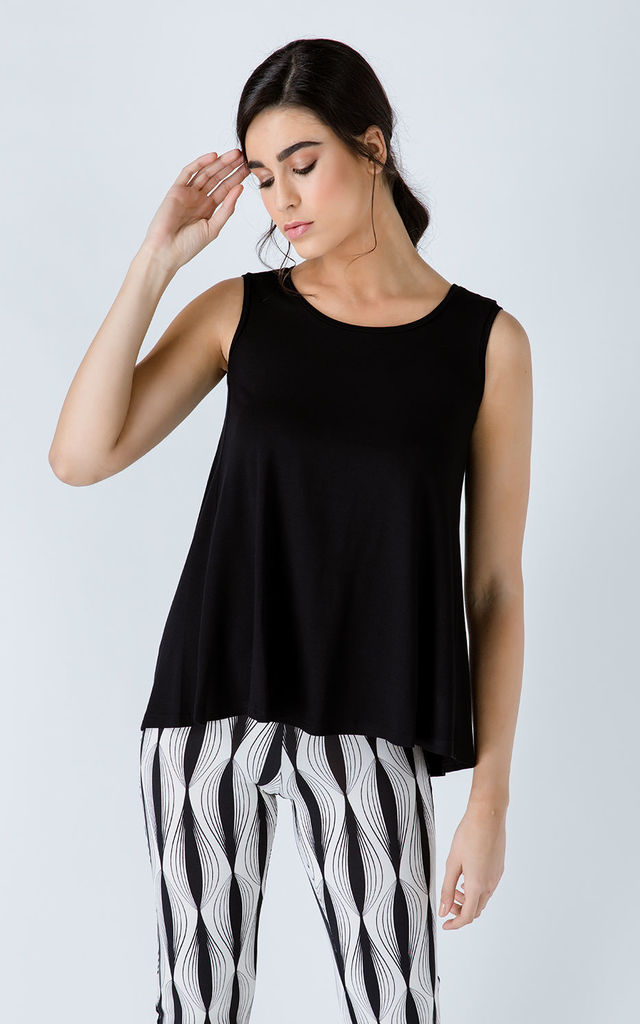 Black Sleeveless Top with Rounded Hemline by Conquista Fashion