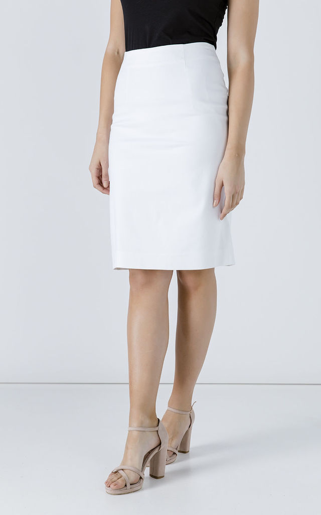 White Pencil Skirt by Conquista Fashion