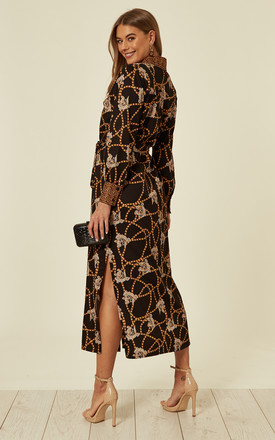 Black Chain Print Midi Shirt Dress by ANGELEYE