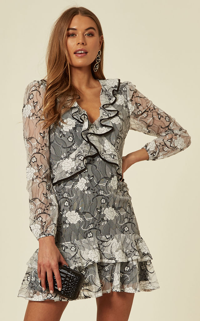 a981cc16d99eb Floral Lace Frill Long Sleeve Mini Dress | Another Look | SilkFred
