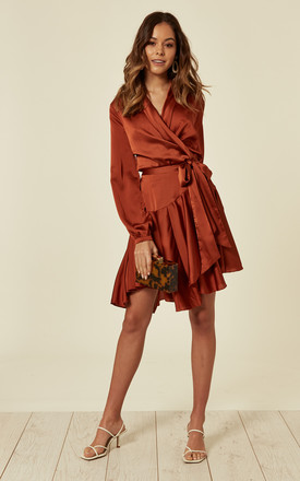 Rust Silky Wrap Dress by Another Look Product photo