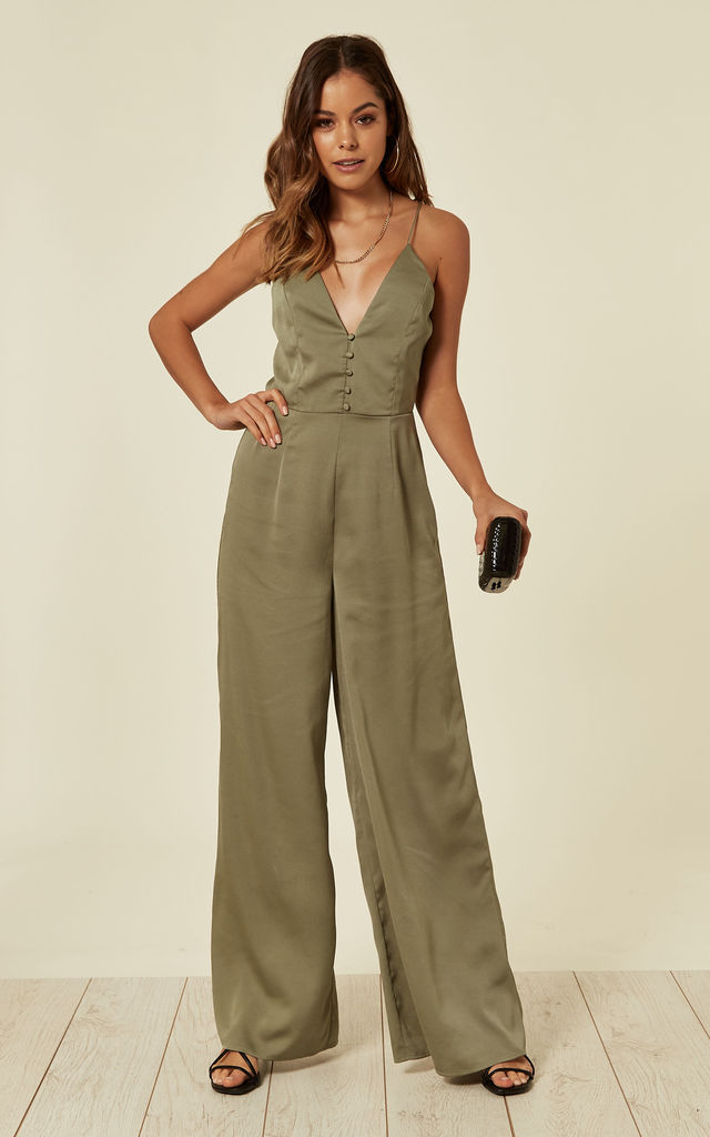Khaki Button Down V Neck Jumpsuit by Another Look