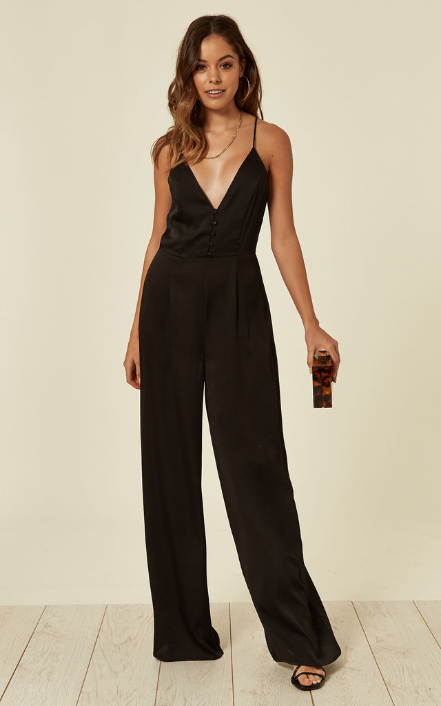 Black Button Down V Neck Jumpsuit by Another Look