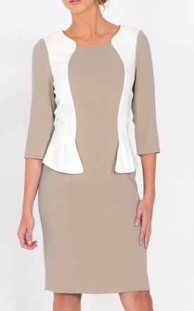 Andalucia Peplum Dress In Beige by LAGOM Product photo
