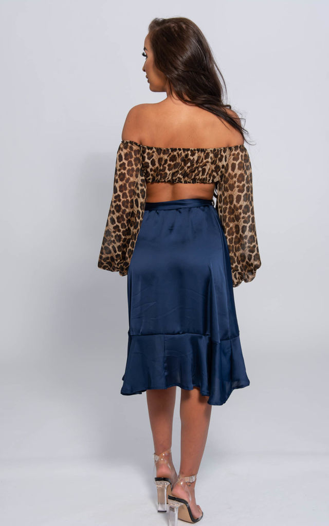 Lucy Navy Satin Wrap Skirt by SHE BY SOPHIE