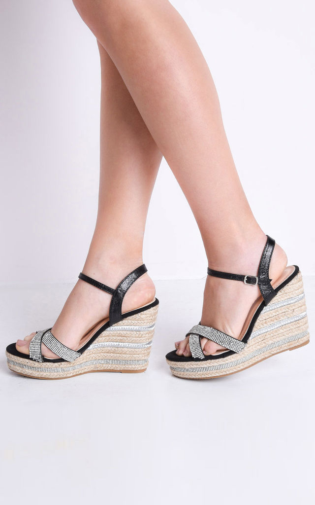 3bf74b9268d Diamante Cross Over Espadrille Wedge Sandals Black By LILY LULU FASHION