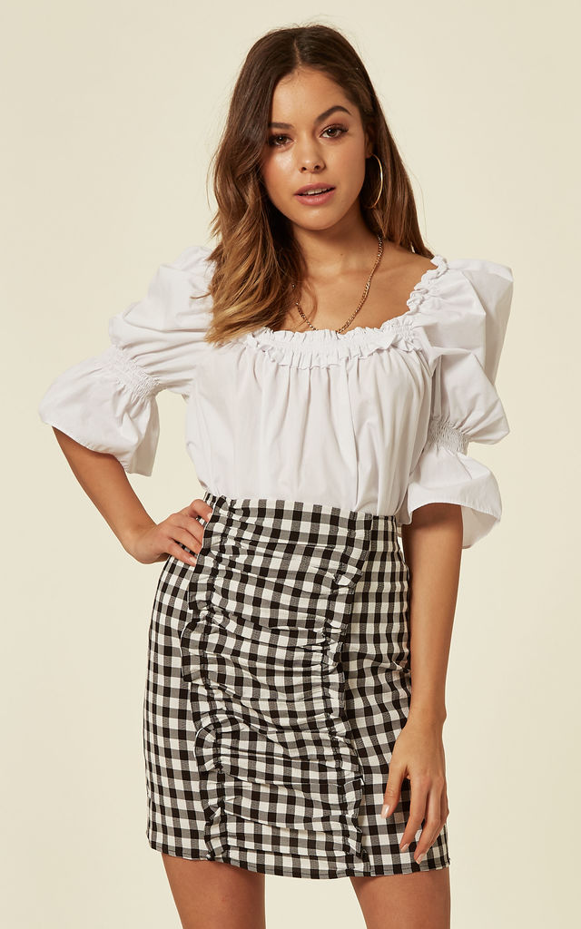 Gingham Front Ruffle Detail Skirt by Another Look