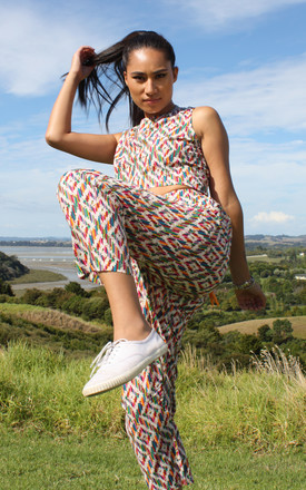 Angela Cerise Geometric Print Hip Hop Trousers by Krissyfied Boutique Product photo