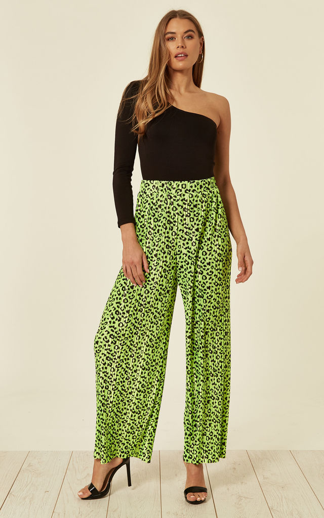 Pleated Wide Leg Neon Green Trousers by Liquorish