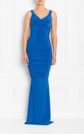 Gabby Blue Maxi Dress With Fishtail by Honor Gold Product photo