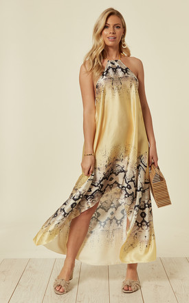 ALEX HALTER NECK HIGH LOW DRESS YELLOW SNAKE by Celeb Threads