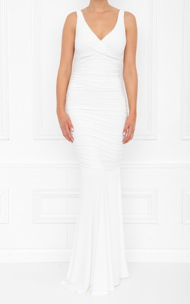Gabby White Ivory Maxi Dress With Fishtail by Honor Gold Product photo